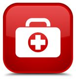 First aid kit bag icon special red square button. First aid kit bag icon isolated on special red square button abstract illustration Stock Photos