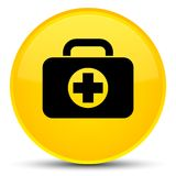 First aid kit bag icon special yellow round button. First aid kit bag icon isolated on special yellow round button abstract illustration Stock Photography