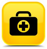 First aid kit bag icon special yellow square button. First aid kit bag icon isolated on special yellow square button abstract illustration Royalty Free Stock Photography