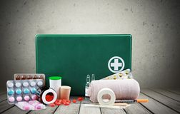 First Aid Kit. First Aid Bandage Adhesive Bandage Emergency Services Equipment Box Stock Image