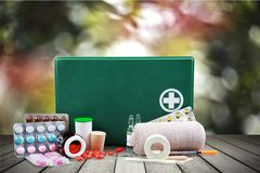 First Aid Kit. First Aid Bandage Adhesive Bandage Emergency Services Equipment Box Royalty Free Stock Photo
