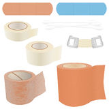 First Aid Kit - Bandages. A collection of 8 vector illustrations of bandage items, commonly found in First Aid Kits, including Bandages, Plasters, Cotton Swabs Royalty Free Stock Photo