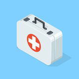 First aid kit on blue background. Isometric  illustration Royalty Free Stock Photography