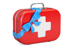 First Aid Kit with bow and ribbon, gift concept. 3D rendering. On white background Royalty Free Stock Images