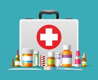 First aid kit box. First aid kit. First aid case box vector illustration for emergency services, healthcare and hilfe concepts Royalty Free Stock Photo
