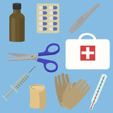 First aid kit box with medical equipment. And medications for emergency. Flat style. vector illustration royalty free illustration