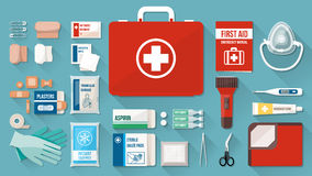 First aid kit. Box with medical equipment and medications for emergency, objects top view Stock Images