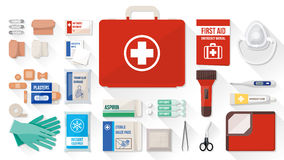 First aid kit. Box with medical equipment and medications for emergency, objects top view Stock Photos
