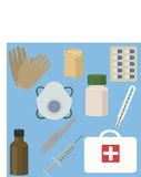 First aid kit box with medical equipment. Vector illustration vector illustration