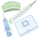 First aid kit box with medical equipment. First aid kit box with medical green blue elements equipment Stock Images