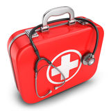 First aid kit box and stethoscope. On white background 3d Stock Image