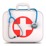 First aid kit box and stethoscope. On white background 3d Royalty Free Stock Photos