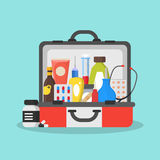 First Aid Kit Box or Suitcase. Vector Royalty Free Stock Images