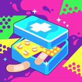 First-Aid Kit Box. Vector Illustration of Opened First-Aid Kit Box in Pop Art Style Stock Photo