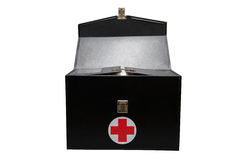 First aid kit box in white background or isolated background, Emergency case used aid box for support medical service Stock Photo