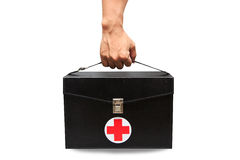 First aid kit box in white background or isolated background, Emergency case used aid box for support medical service Royalty Free Stock Image