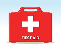 First aid kit. Briefcase illustration with cross Stock Photography