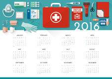 First aid kit calendar 2016 Royalty Free Stock Image