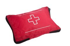 First Aid Kit - Camping Equipment. A camping first aid kit, isolated on white with clipping path Stock Image