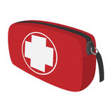 First aid kit cartoon icon. Traveller equipment. Single symbol on a white Royalty Free Stock Images