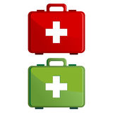 First aid kit case. Red and green first aid kit case over white Stock Photography