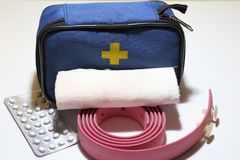 First aid kit for first aid in case of trauma, tourniquet for st. Opping bleeding, bandage for bandaging royalty free stock image