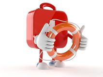 First aid kit character holding life buoy. On white background Royalty Free Stock Photography
