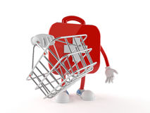 First aid kit character holding shopping basket. Isolated on white background Stock Photos