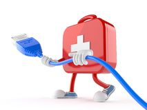 First aid kit character with network cable. On white background Royalty Free Stock Photos