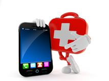 First aid kit character with smartphone. Isolated on white background. 3d illustration Royalty Free Stock Image