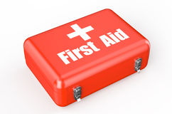First aid kit closeup. Isolated on white background Stock Image