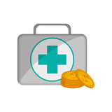 First aid kit and coins icon Stock Images