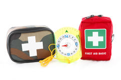 First aid kit and a compass royalty free stock images