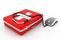 First aid kit and computer mouse. 3d First aid kit and computer mouse Royalty Free Stock Photo