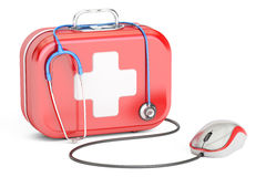 First Aid Kit and computer mouse. First Aid online concept. 3D rendering on white background Stock Image