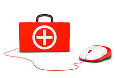 First Aid Kit and computer mouse. On a white background Royalty Free Stock Photos