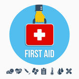 First aid kit concept. With hand holding medicine chest with cross and healthcare icons flat  illustration Stock Image