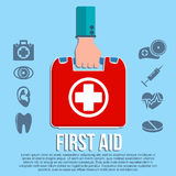 First aid kit concept. With hand holding medicine chest with cross and healthcare icons flat  illustration Stock Photography