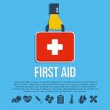 First aid kit concept. With hand holding medicine chest with cross and healthcare icons flat vector illustration Stock Photos