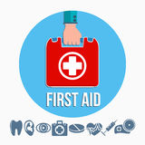 First aid kit concept. With hand holding medicine chest with cross and healthcare icons flat vector illustration Royalty Free Stock Photos