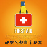 First Aid Kit Concept. With hand holding medicine chest with cross and healthcare icons flat vector illustration Stock Photography
