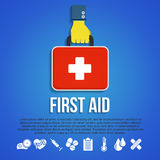First Aid Kit Concept. With hand holding medicine chest with cross and healthcare icons flat vector illustration Royalty Free Stock Images