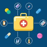 First aid kit concept - medicine icons set. Medicine symbol, vector illustration Royalty Free Stock Photos