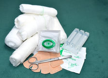 First Aid Kit Contents Stock Photo