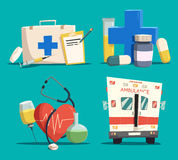 First aid kit and cross, emergency bus and heart. Ambulance or emergency car or bus, first aid kit with syringe and tablet or lozenge, cross and pill, tube or Royalty Free Stock Photography