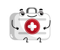 First aid kit cute cartoon character. Medical treatment icon, funny medicine equipment isolated on white background vector illustration Stock Photos