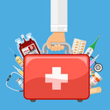 First aid kit in doctor hand. Doctor holds in hand first aid kit with medical drugs. flat style icons. isolated vector illustration Royalty Free Stock Image