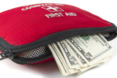 First aid kit with dollar Stock Photography