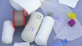 First aid kit with dressing material. Medical instruments, medical blood tube, test tube for laboratory stock video
