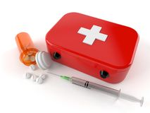 First aid kit with drugs. Isolated on white background Royalty Free Stock Image